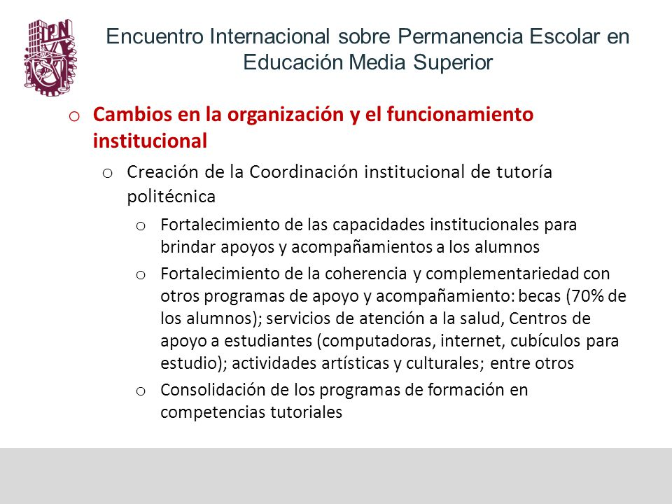 Cambios en la organización y el funcionamiento institucional