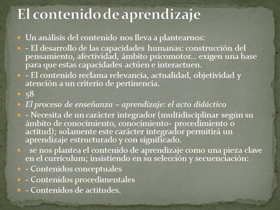 El contenido de aprendizaje