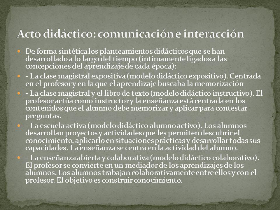 Acto didáctico: comunicación e interacción