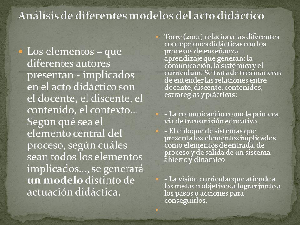 Análisis de diferentes modelos del acto didáctico