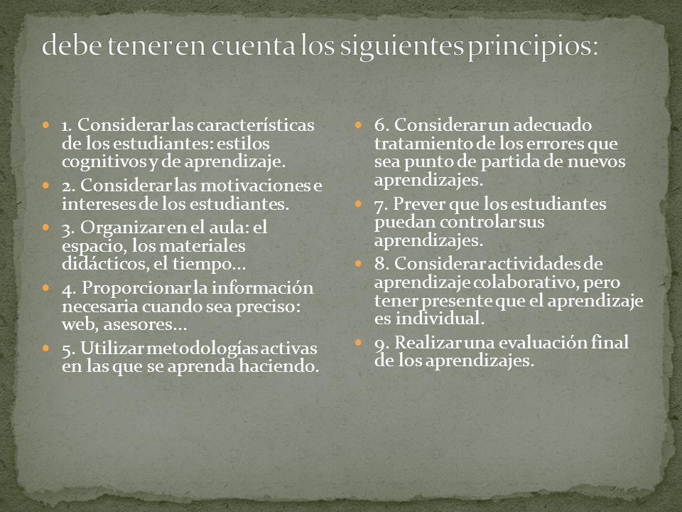 debe tener en cuenta los siguientes principios: