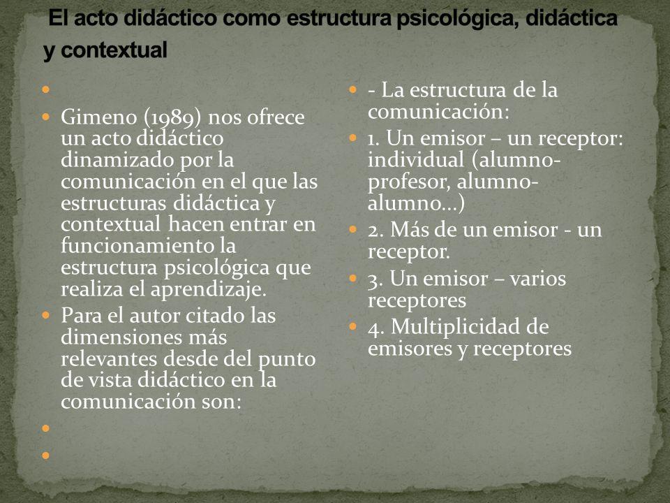 El acto didáctico como estructura psicológica, didáctica y contextual