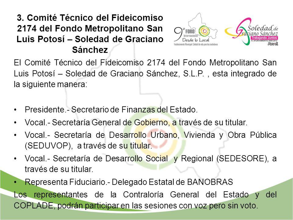 3. Comité Técnico del Fideicomiso 2174 del Fondo Metropolitano San Luis Potosí – Soledad de Graciano Sánchez