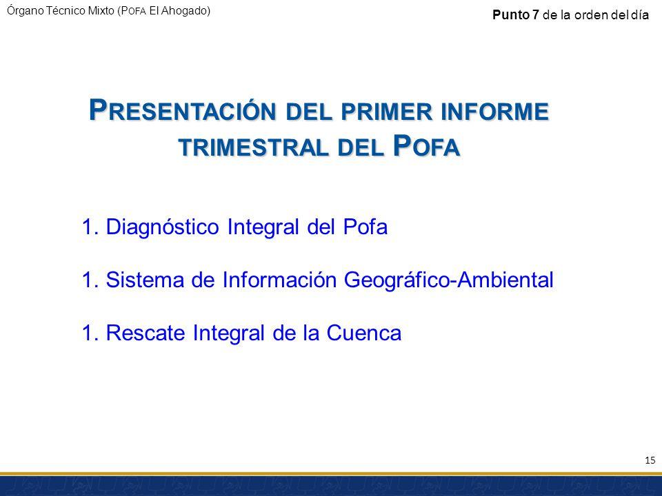 Presentación del primer informe trimestral del Pofa