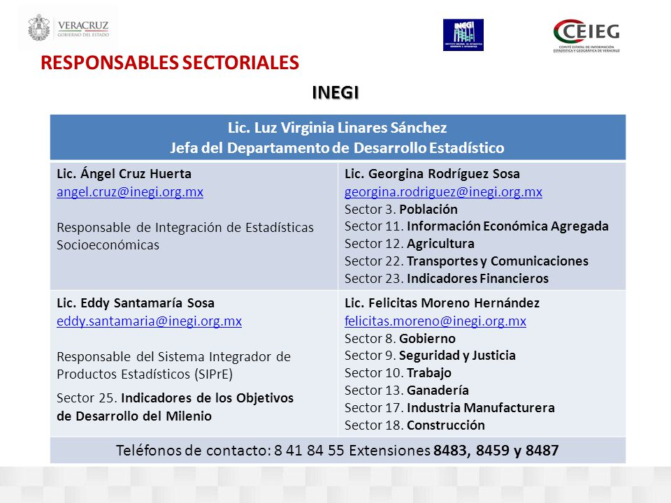 RESPONSABLES SECTORIALES