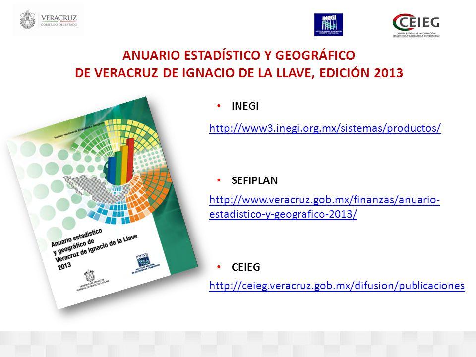 ANUARIO ESTADÍSTICO Y GEOGRÁFICO DE VERACRUZ DE IGNACIO DE LA LLAVE, EDICIÓN 2013