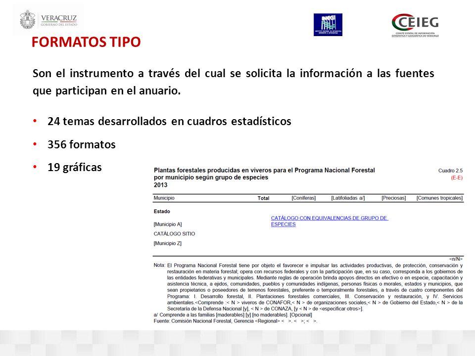 FORMATOS TIPO Son el instrumento a través del cual se solicita la información a las fuentes que participan en el anuario.