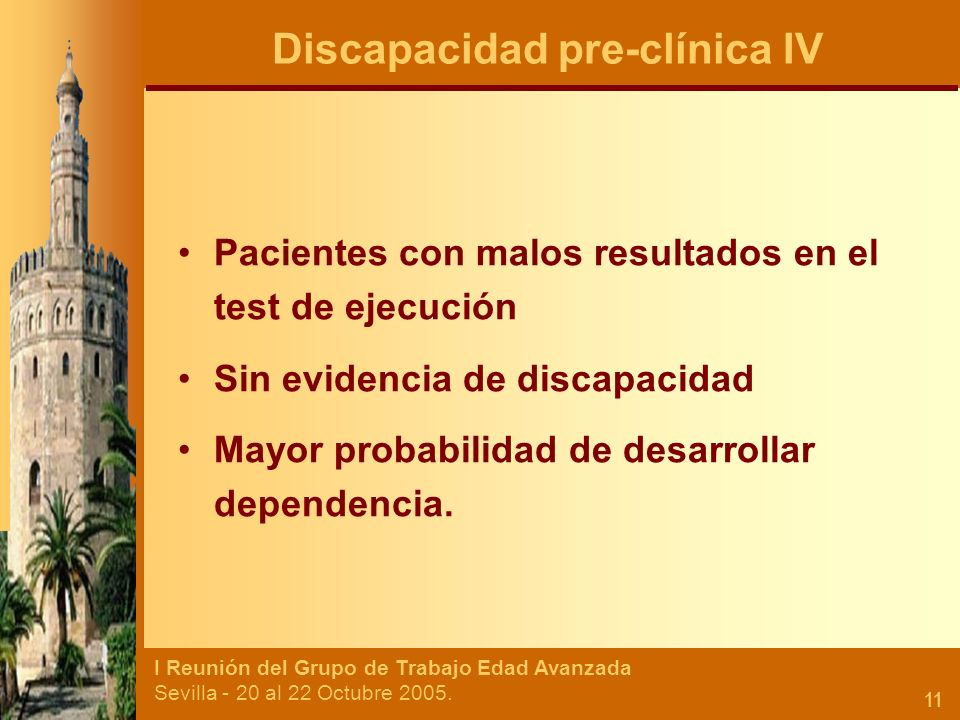 Discapacidad pre-clínica IV