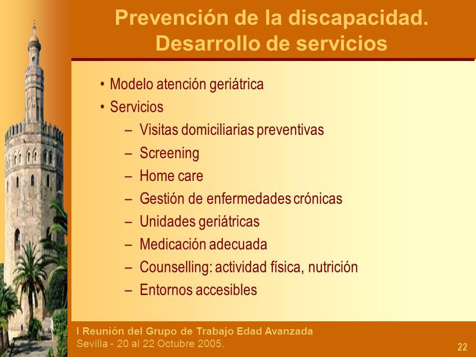 Prevención de la discapacidad. Desarrollo de servicios