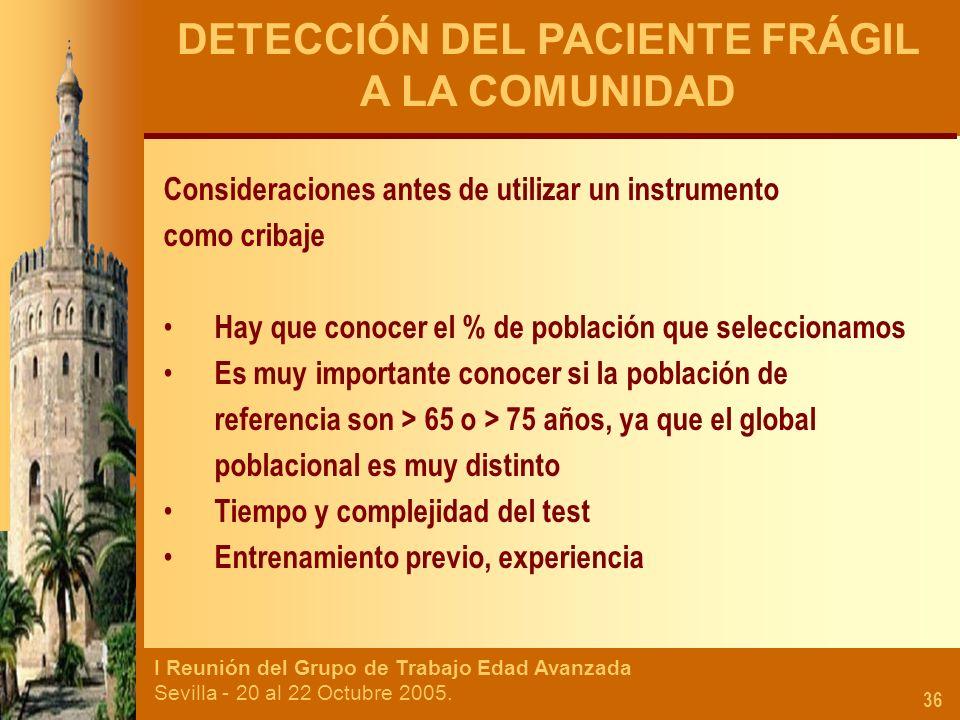 DETECCIÓN DEL PACIENTE FRÁGIL A LA COMUNIDAD