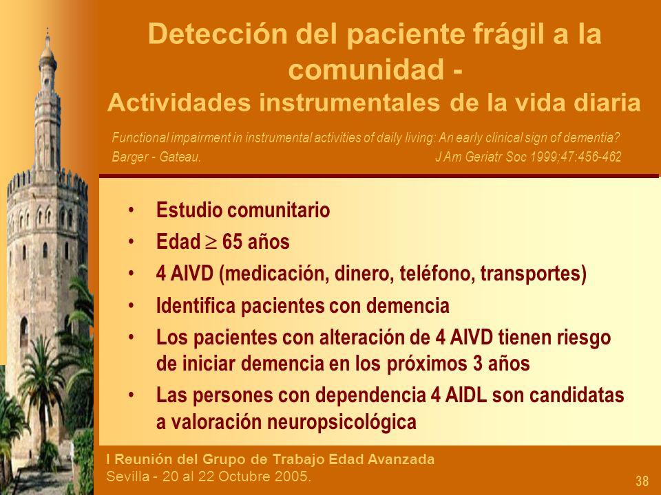 Detección del paciente frágil a la comunidad - Actividades instrumentales de la vida diaria