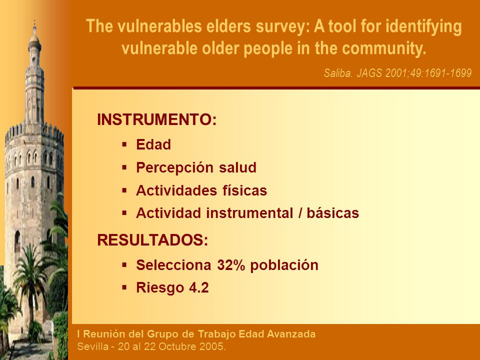 The vulnerables elders survey: A tool for identifying vulnerable older people in the community.