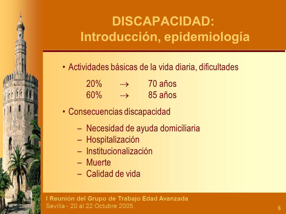 DISCAPACIDAD: Introducción, epidemiología
