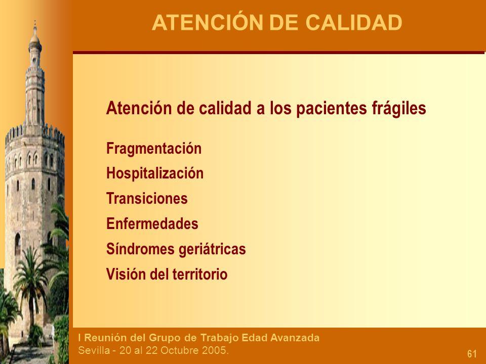 ATENCIÓN DE CALIDAD Atención de calidad a los pacientes frágiles