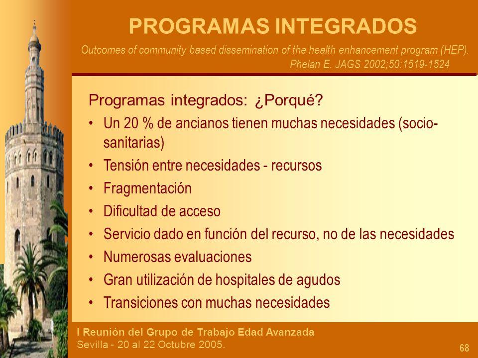PROGRAMAS INTEGRADOS Programas integrados: ¿Porqué