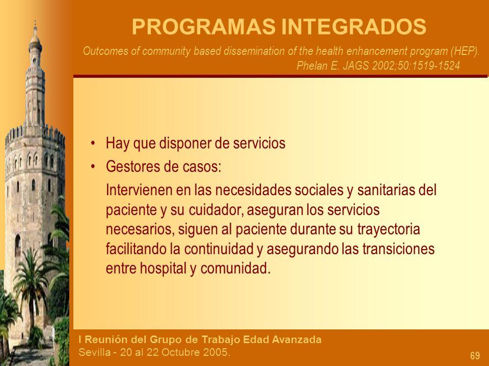 PROGRAMAS INTEGRADOS Hay que disponer de servicios Gestores de casos: