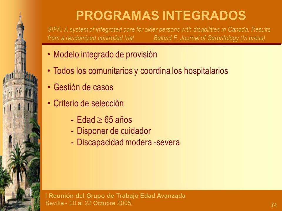 PROGRAMAS INTEGRADOS Modelo integrado de provisión