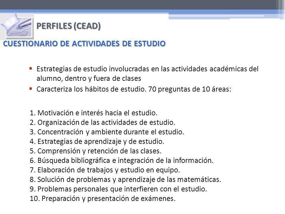 PERFILES (CEAD) CUESTIONARIO DE ACTIVIDADES DE ESTUDIO