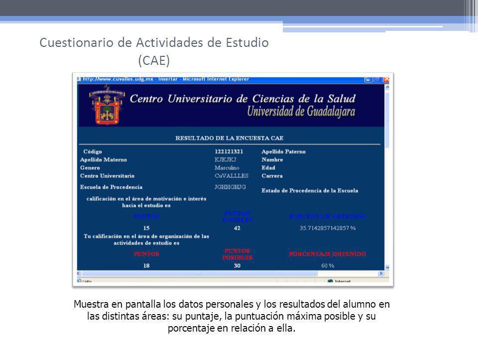 Cuestionario de Actividades de Estudio (CAE)