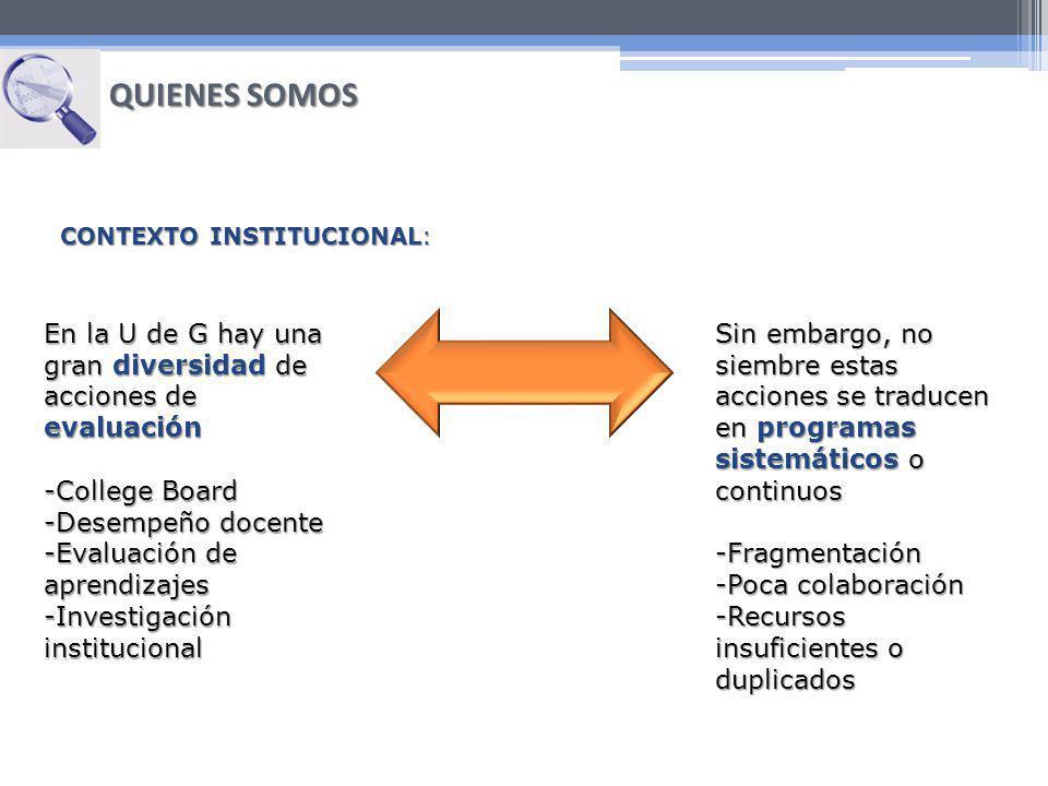 QUIENES SOMOS CONTEXTO INSTITUCIONAL: En la U de G hay una gran diversidad de acciones de evaluación.