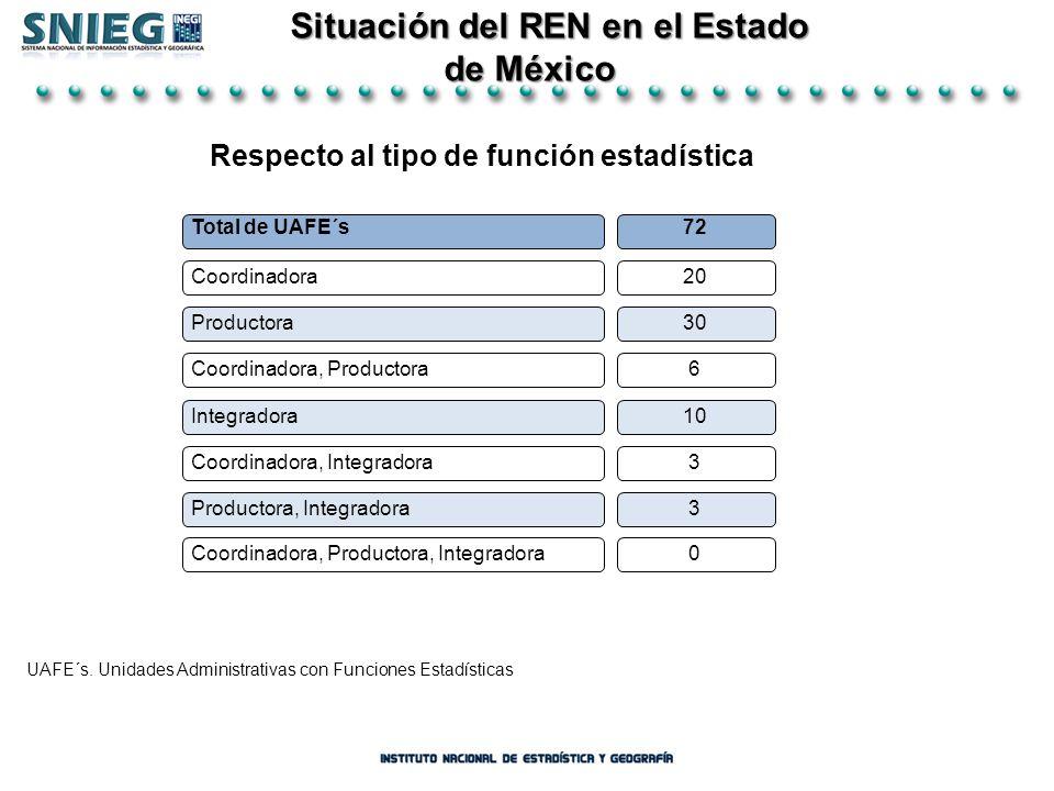 Situación del REN en el Estado Respecto al tipo de función estadística