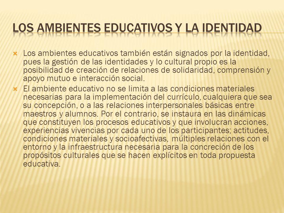 Los ambientes educativos y la identidad