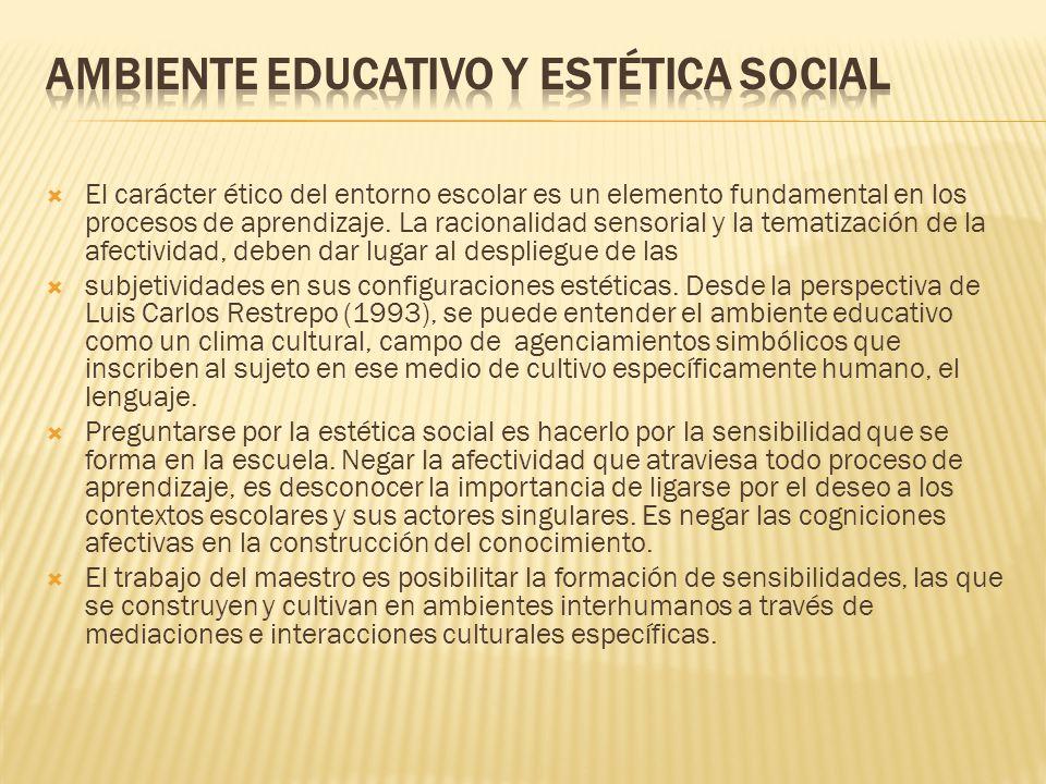 AMBIENTE EDUCATIVO Y ESTÉTICA SOCIAL