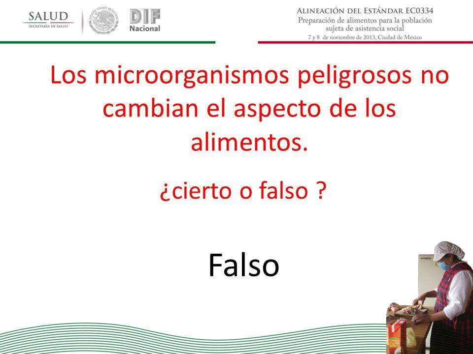 Los microorganismos peligrosos no cambian el aspecto de los alimentos.