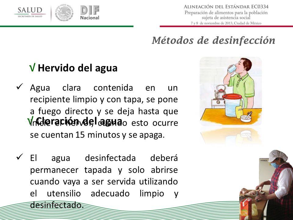 Hervido del agua Cloración del agua Métodos de desinfección