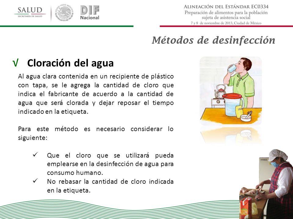 Cloración del agua Métodos de desinfección
