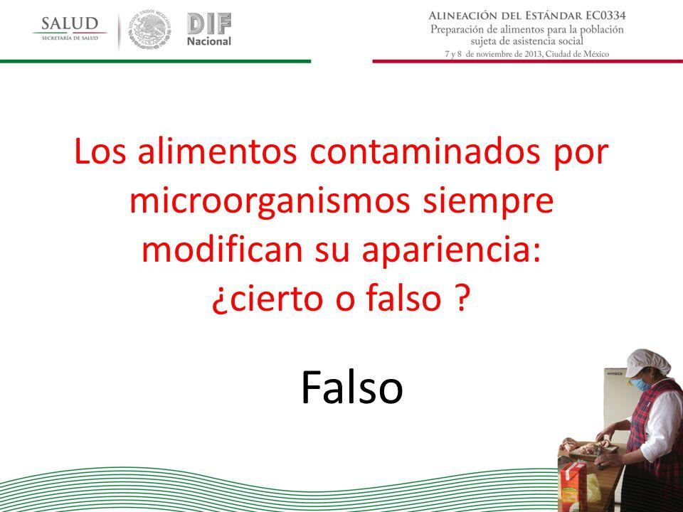 Los alimentos contaminados por microorganismos siempre modifican su apariencia: ¿cierto o falso