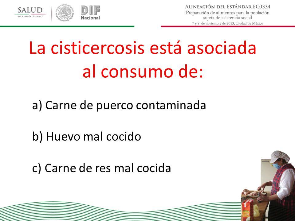 La cisticercosis está asociada al consumo de: