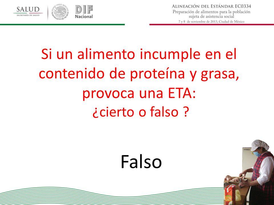 Si un alimento incumple en el contenido de proteína y grasa, provoca una ETA: ¿cierto o falso