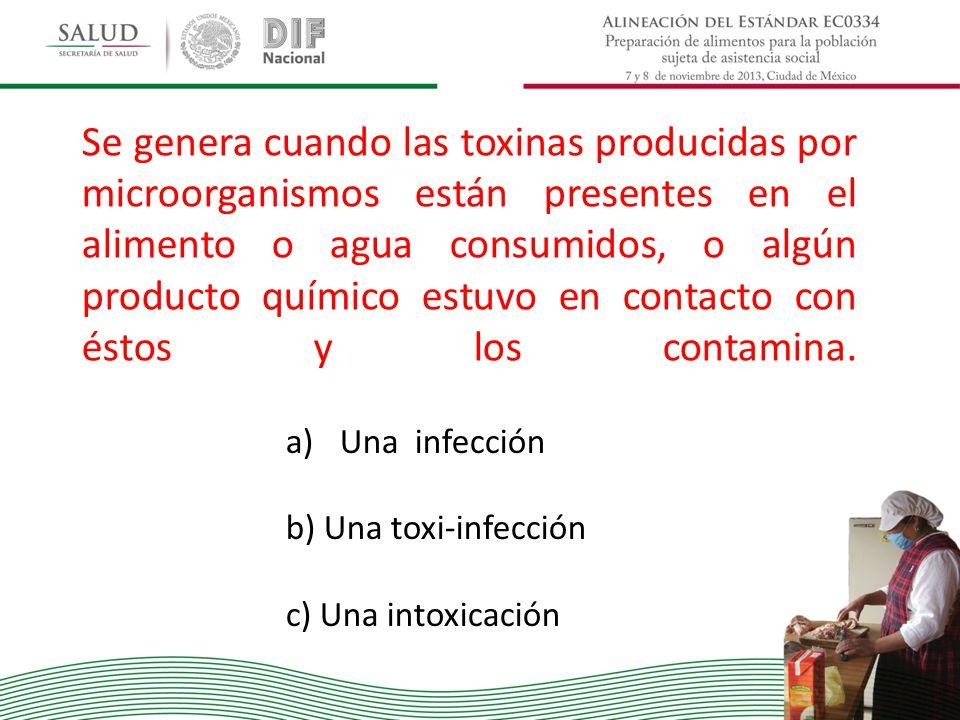 Se genera cuando las toxinas producidas por microorganismos están presentes en el alimento o agua consumidos, o algún producto químico estuvo en contacto con éstos y los contamina.