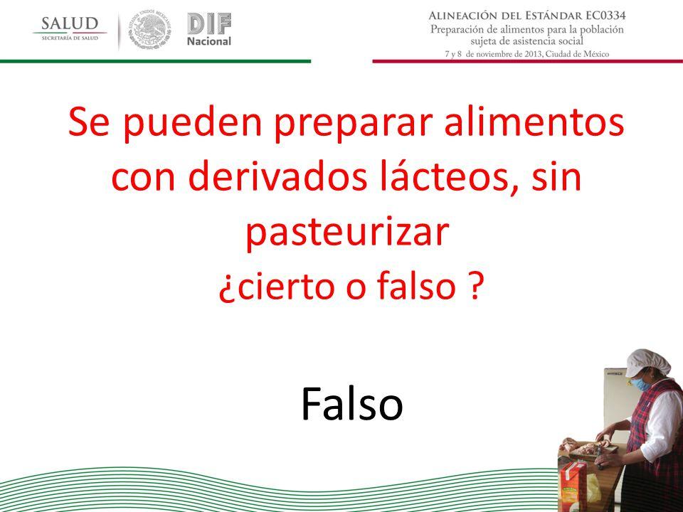 Se pueden preparar alimentos con derivados lácteos, sin pasteurizar ¿cierto o falso