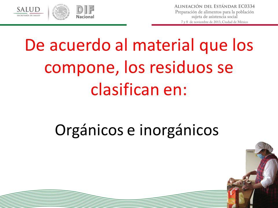 De acuerdo al material que los compone, los residuos se clasifican en: