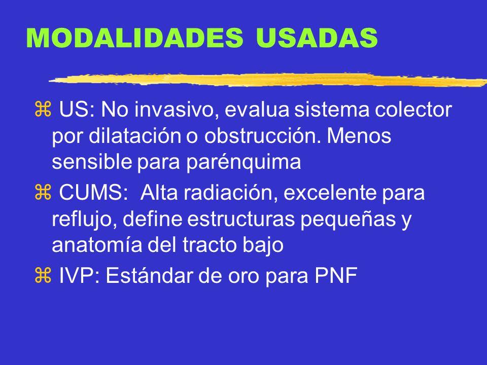 MODALIDADES USADAS US: No invasivo, evalua sistema colector por dilatación o obstrucción. Menos sensible para parénquima.