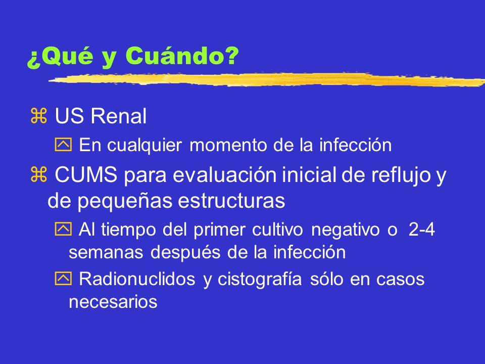 ¿Qué y Cuándo US Renal. En cualquier momento de la infección. CUMS para evaluación inicial de reflujo y de pequeñas estructuras.