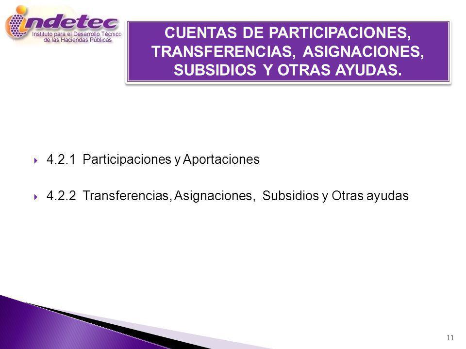 CUENTAS DE PARTICIPACIONES, TRANSFERENCIAS, ASIGNACIONES, SUBSIDIOS Y OTRAS AYUDAS.