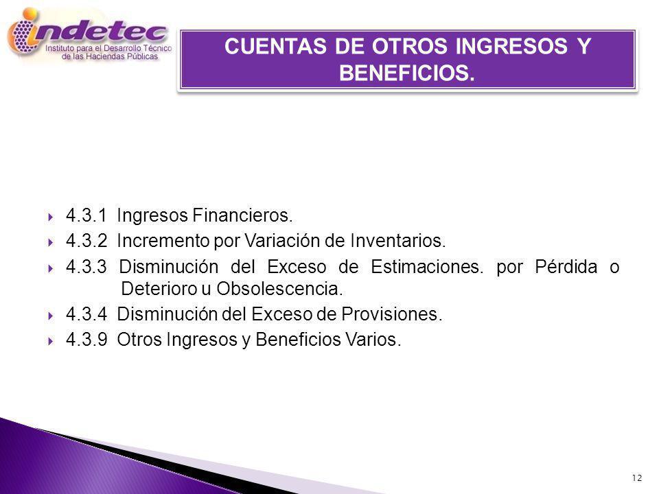 CUENTAS DE OTROS INGRESOS Y BENEFICIOS.
