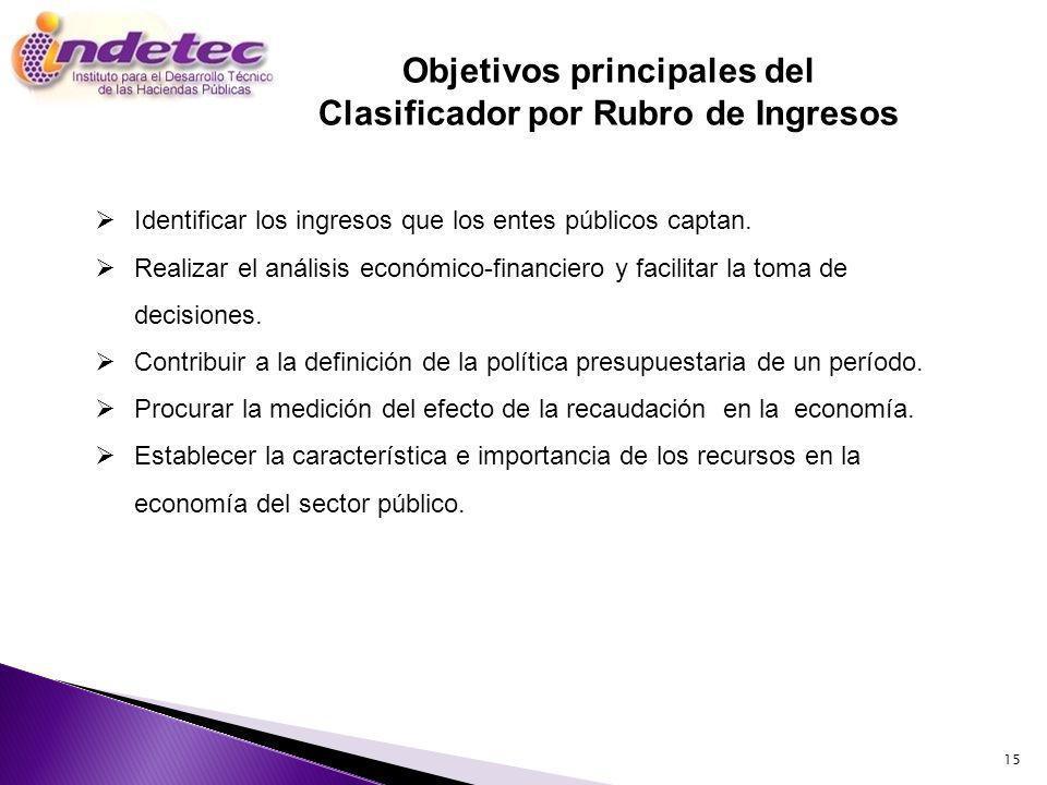 Objetivos principales del Clasificador por Rubro de Ingresos