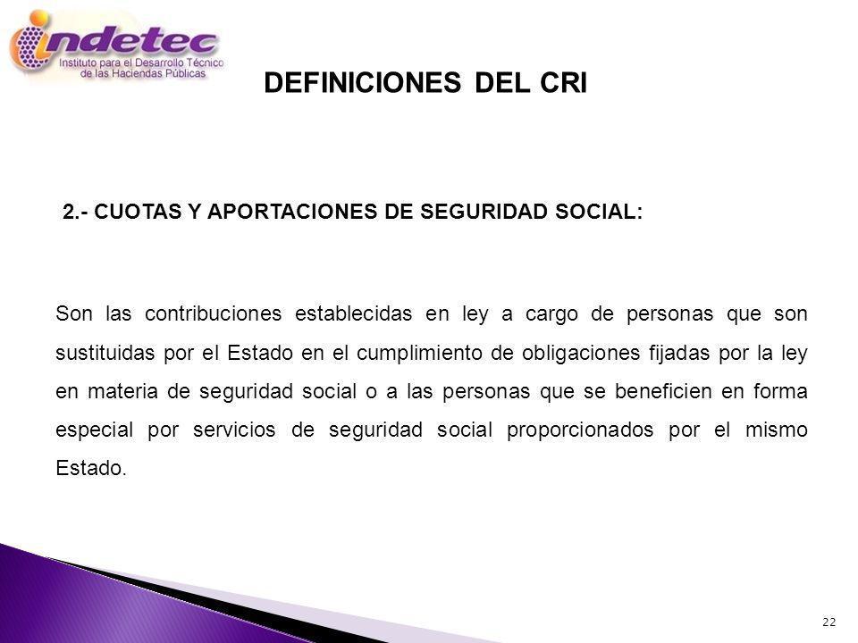 DEFINICIONES DEL CRI 2.- CUOTAS Y APORTACIONES DE SEGURIDAD SOCIAL: