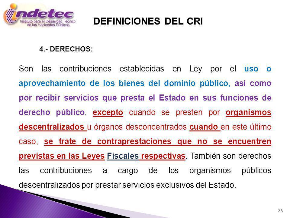 DEFINICIONES DEL CRI 4.- DERECHOS: