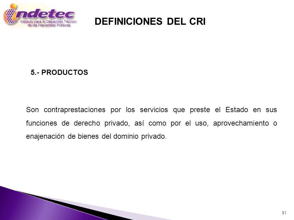 DEFINICIONES DEL CRI 5.- PRODUCTOS