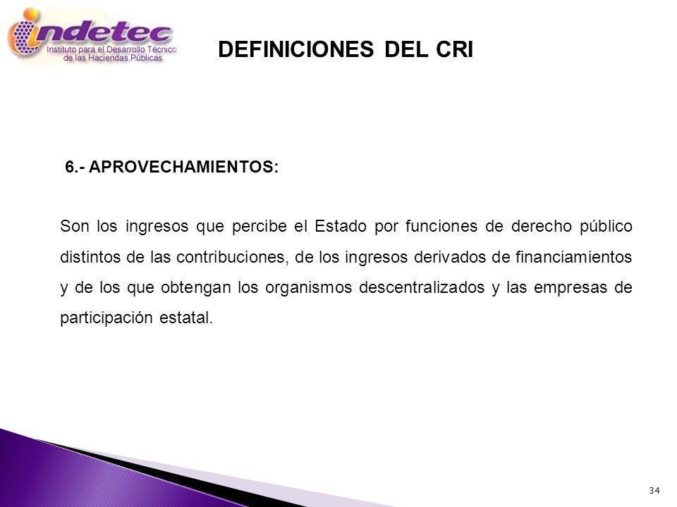 DEFINICIONES DEL CRI 6.- APROVECHAMIENTOS: