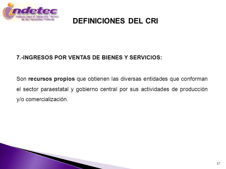 DEFINICIONES DEL CRI 7.-INGRESOS POR VENTAS DE BIENES Y SERVICIOS: