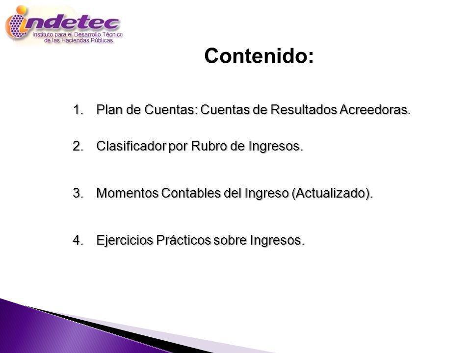 Contenido: Programa Plan de Cuentas: Cuentas de Resultados Acreedoras.