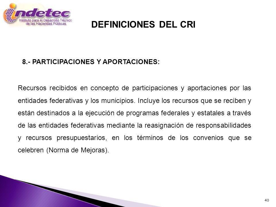 DEFINICIONES DEL CRI 8.- PARTICIPACIONES Y APORTACIONES: