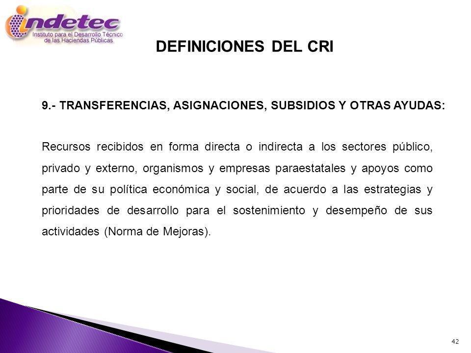 DEFINICIONES DEL CRI 9.- TRANSFERENCIAS, ASIGNACIONES, SUBSIDIOS Y OTRAS AYUDAS: