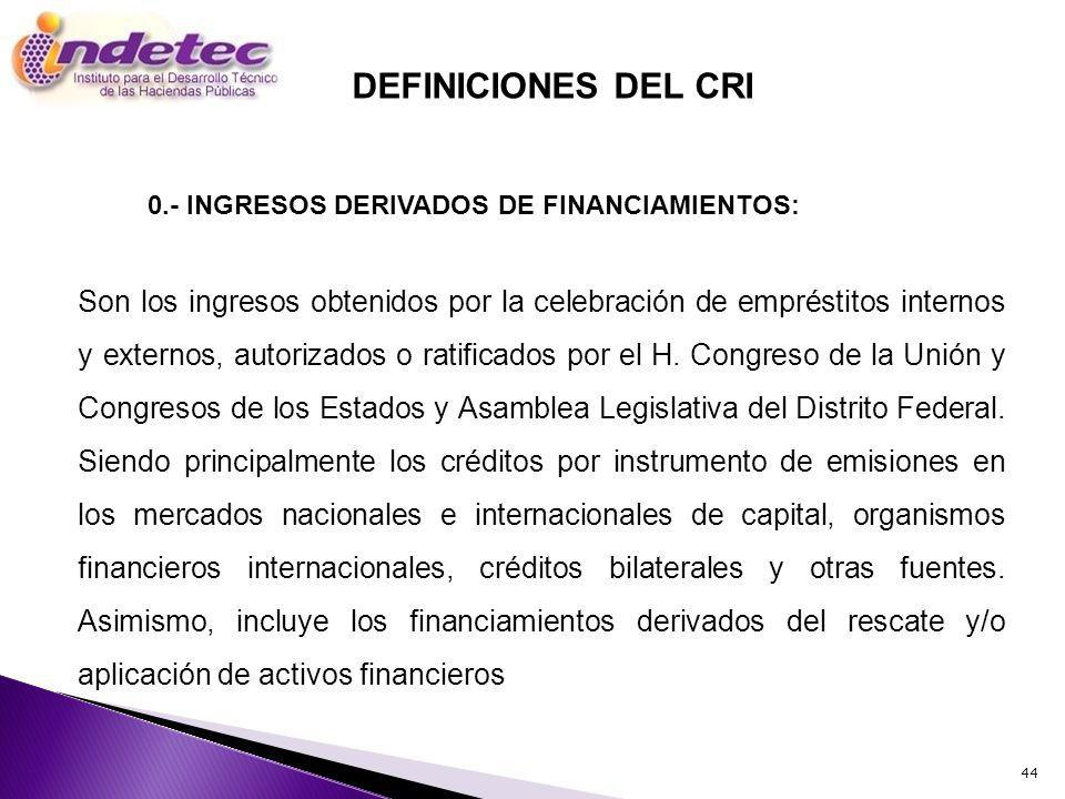 0.- INGRESOS DERIVADOS DE FINANCIAMIENTOS: